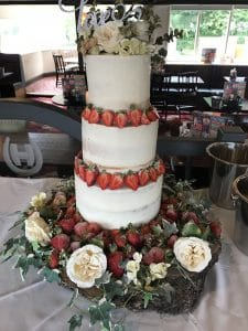 3 tier strawberry decorated Wedding Cakes